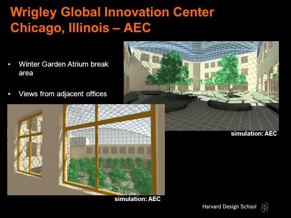 Wrigley Global Innovation Center Chicago, Illinois – AEC simulation: AEC Winter Garden Atrium break area Views from adjacent offices