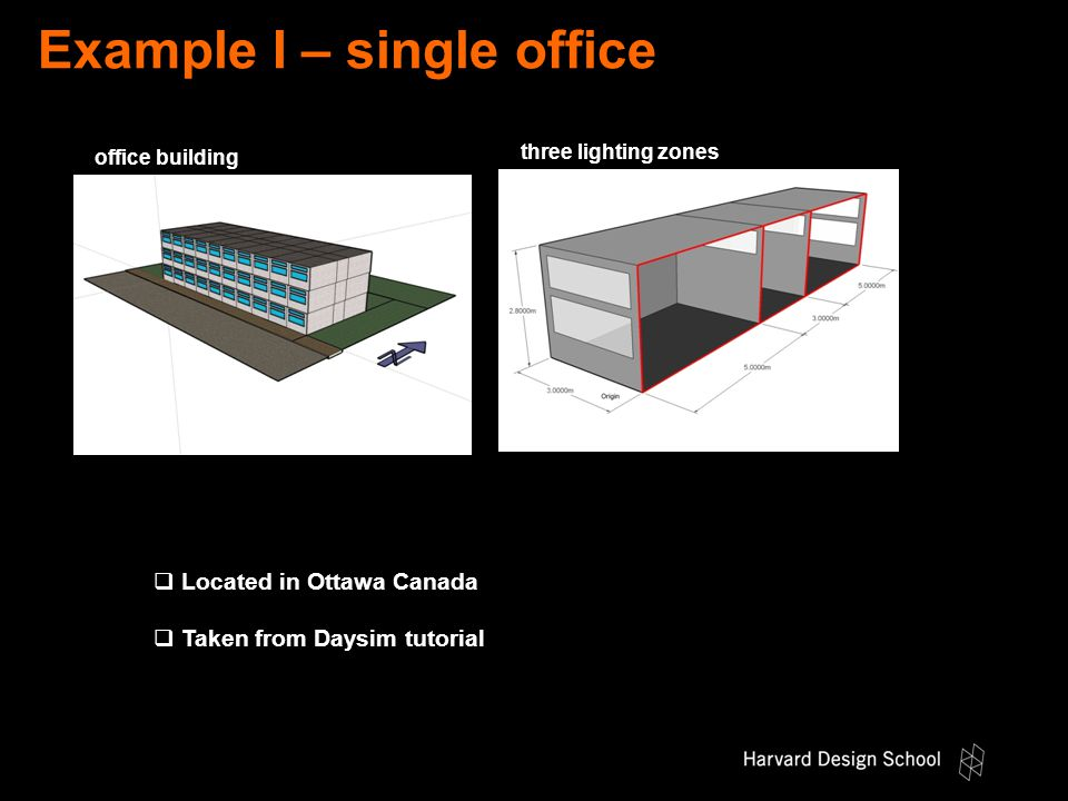 Example I – single office  Located in Ottawa Canada  Taken from Daysim tutorial office building three lighting zones