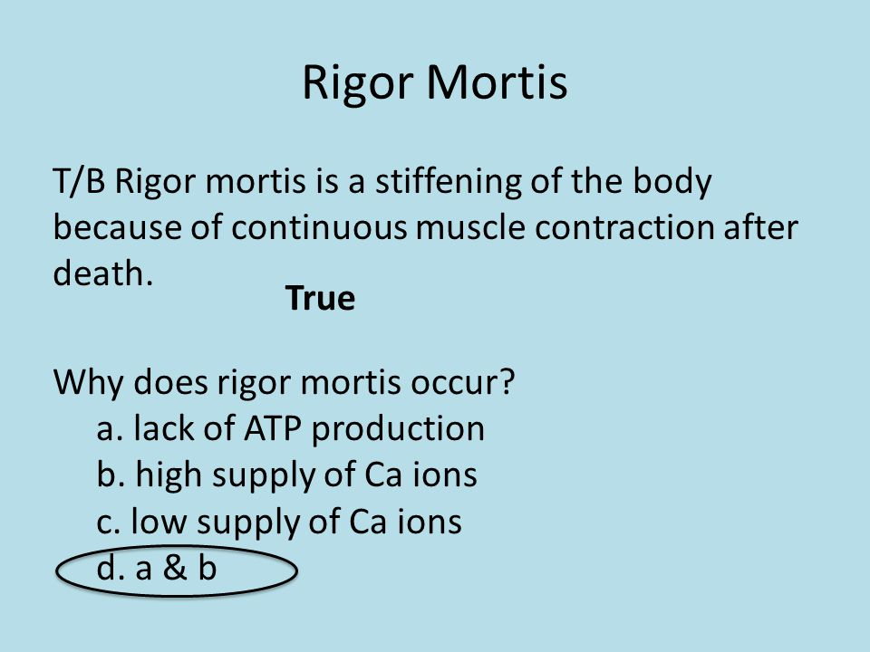 Rigor Mortis T/B Rigor mortis is a stiffening of the body because of continuous muscle contraction after death. True Why does rigor mortis occur? a. l