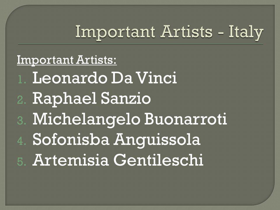 Important Artists: 1. Leonardo Da Vinci 2. Raphael Sanzio 3.