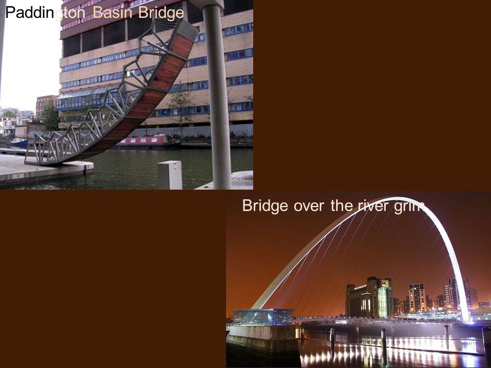 Paddington Basin Bridge Bridge over the river grim