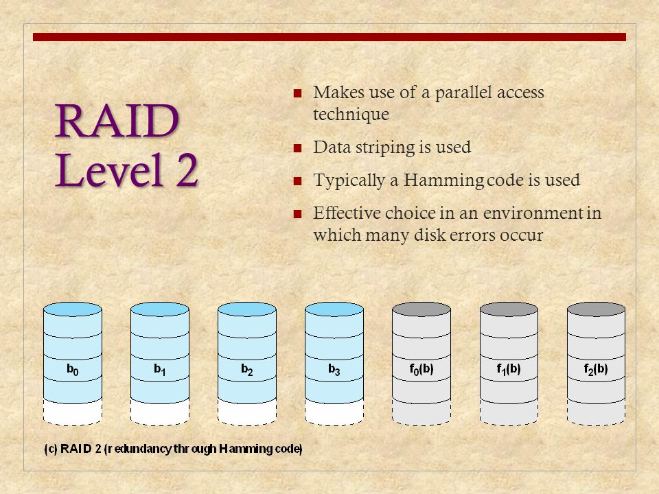 RAID Level 2 Makes use of a parallel access technique Data striping is used Typically a Hamming code is used Effective choice in an environment in whi