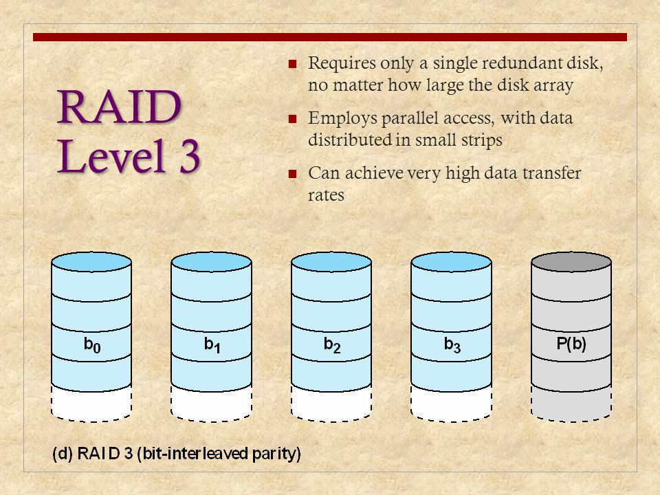 RAID Level 3 Requires only a single redundant disk, no matter how large the disk array Employs parallel access, with data distributed in small strips