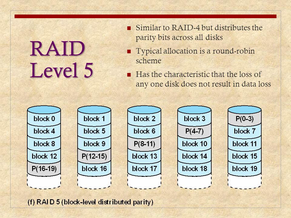 RAID Level 5 Similar to RAID-4 but distributes the parity bits across all disks Typical allocation is a round-robin scheme Has the characteristic that