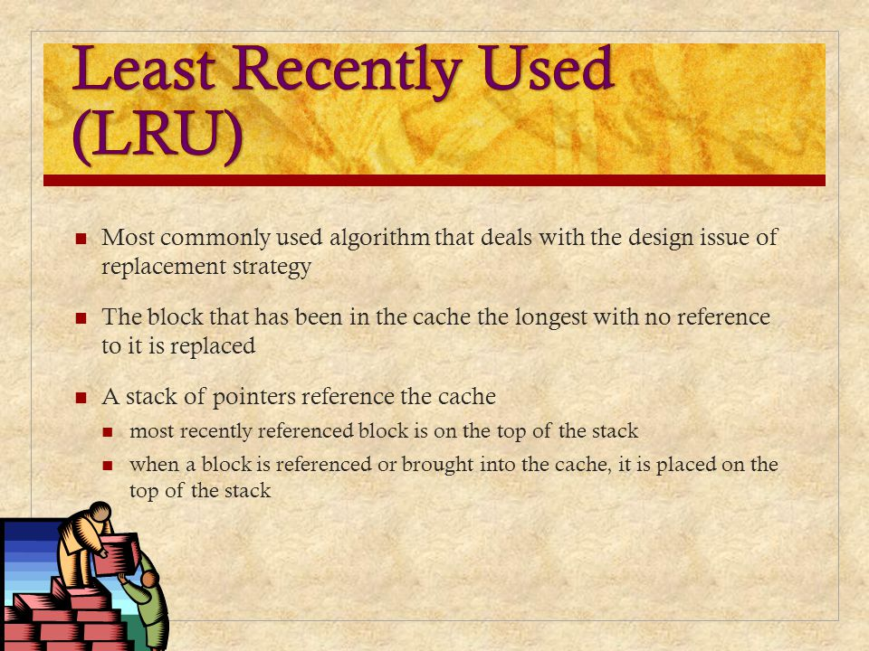 Most commonly used algorithm that deals with the design issue of replacement strategy The block that has been in the cache the longest with no referen