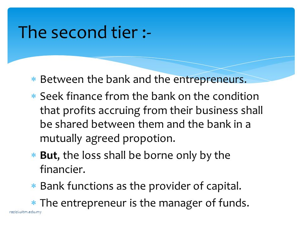  Between the bank and the entrepreneurs.  Seek finance from the bank on the condition that profits accruing from their business shall be shared betw