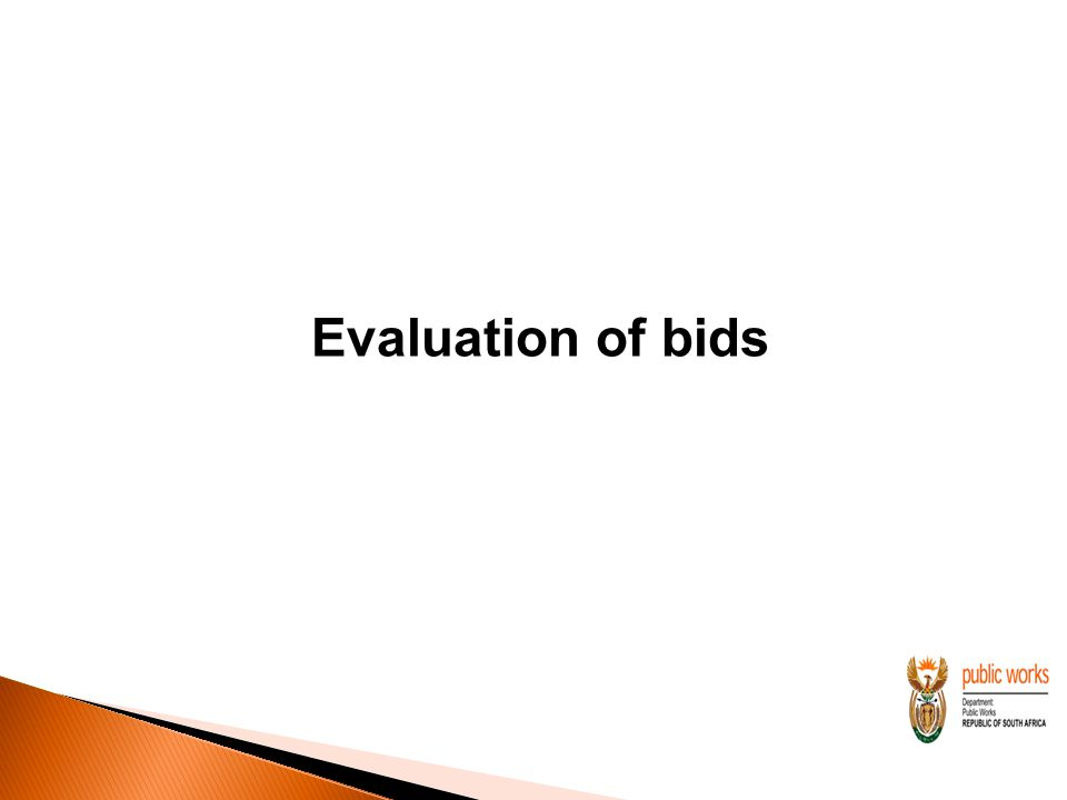 Evaluation of bids