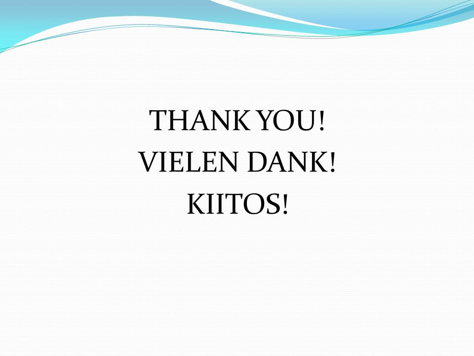 THANK YOU! VIELEN DANK! KIITOS!