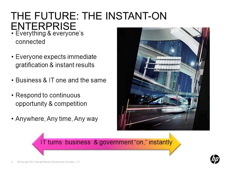 """© Copyright 2010 Hewlett-Packard Development Company, L.P. 4 IT turns business & government """"on,"""" instantly THE FUTURE: THE INSTANT-ON ENTERPRISE Ever"""