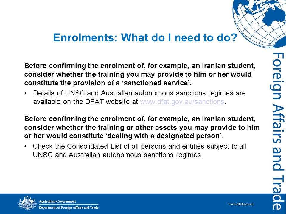 Enrolments: What do I need to do.