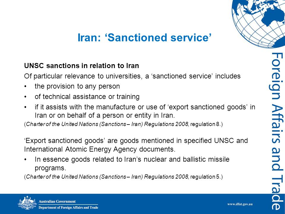 Iran: 'Sanctioned service' and enrolments Sanctions and visa issues in relation to Iranian students are separate.