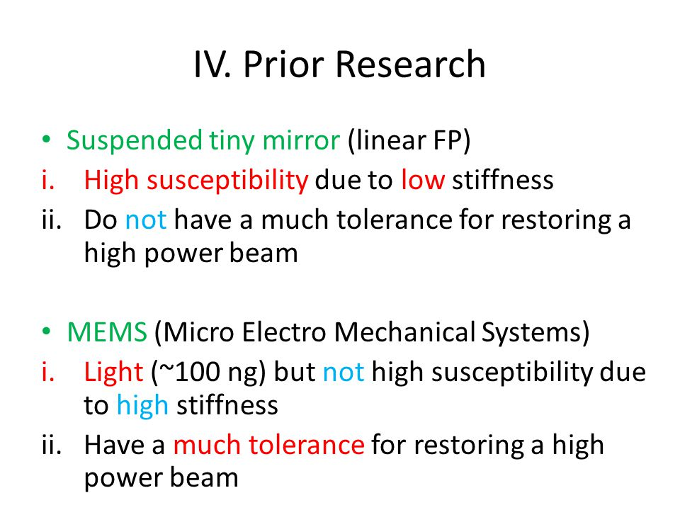 IV. Prior Research Suspended tiny mirror (linear FP) i.High susceptibility due to low stiffness ii.Do not have a much tolerance for restoring a high p