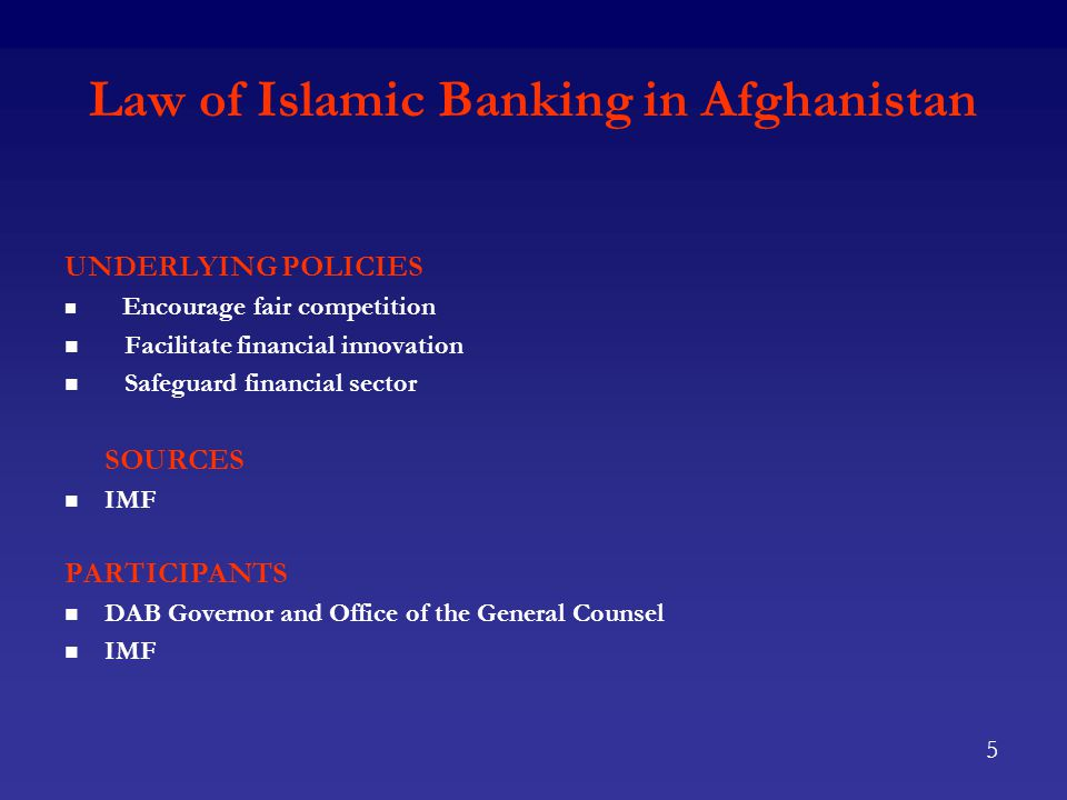 Afghan Deposit Insurance Corporation (AIDC) OBJECTIVES Support DAB's mandate to foster liquidity, solvency and proper functioning of a stable, market-based financial system Create the Afghan Deposit Insurance Corporation PURPOSE & APPLICATION Protection of small, individual depositors Capitalization and governance of ADIC Attachment to Law of Banking Applies to insured deposits up to 50,000 Afs Covers conventional and Islamic deposits Mandatory for all deposit taking financial institutions 6