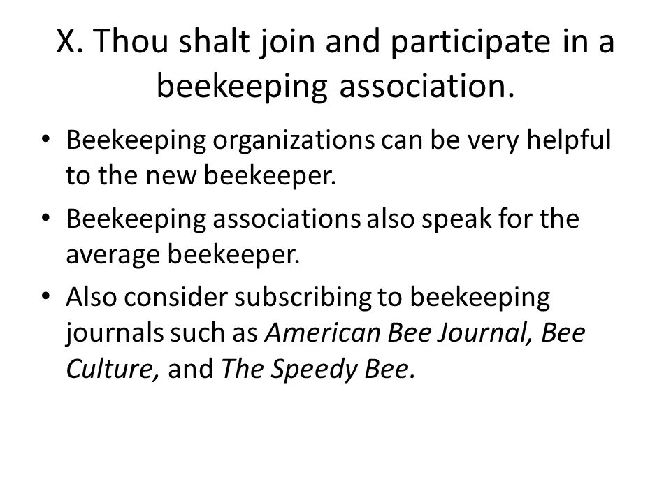 X. Thou shalt join and participate in a beekeeping association.