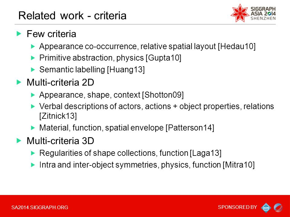 SA2014.SIGGRAPH.ORG SPONSORED BY Related work - criteria Few criteria Appearance co-occurrence, relative spatial layout [Hedau10] Primitive abstraction, physics [Gupta10] Semantic labelling [Huang13] Multi-criteria 2D Appearance, shape, context [Shotton09] Verbal descriptions of actors, actions + object properties, relations [Zitnick13] Material, function, spatial envelope [Patterson14] Multi-criteria 3D Regularities of shape collections, function [Laga13] Intra and inter-object symmetries, physics, function [Mitra10]