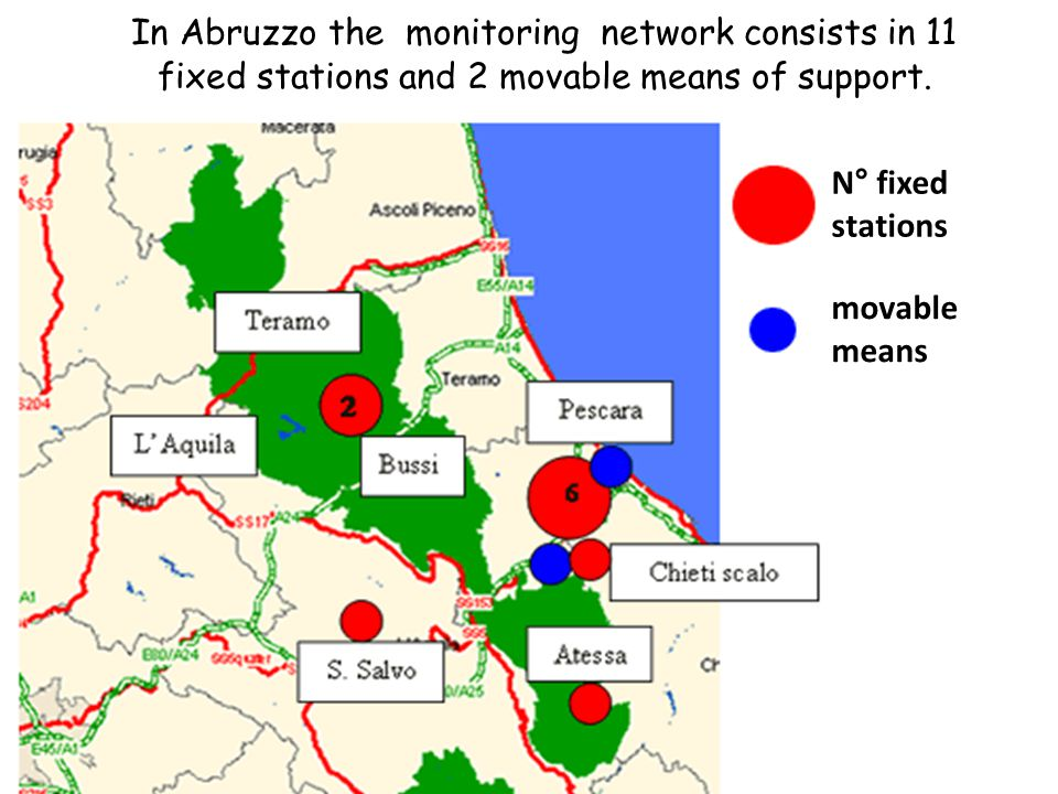In Abruzzo the monitoring network consists in 11 fixed stations and 2 movable means of support. N° fixed stations movable means