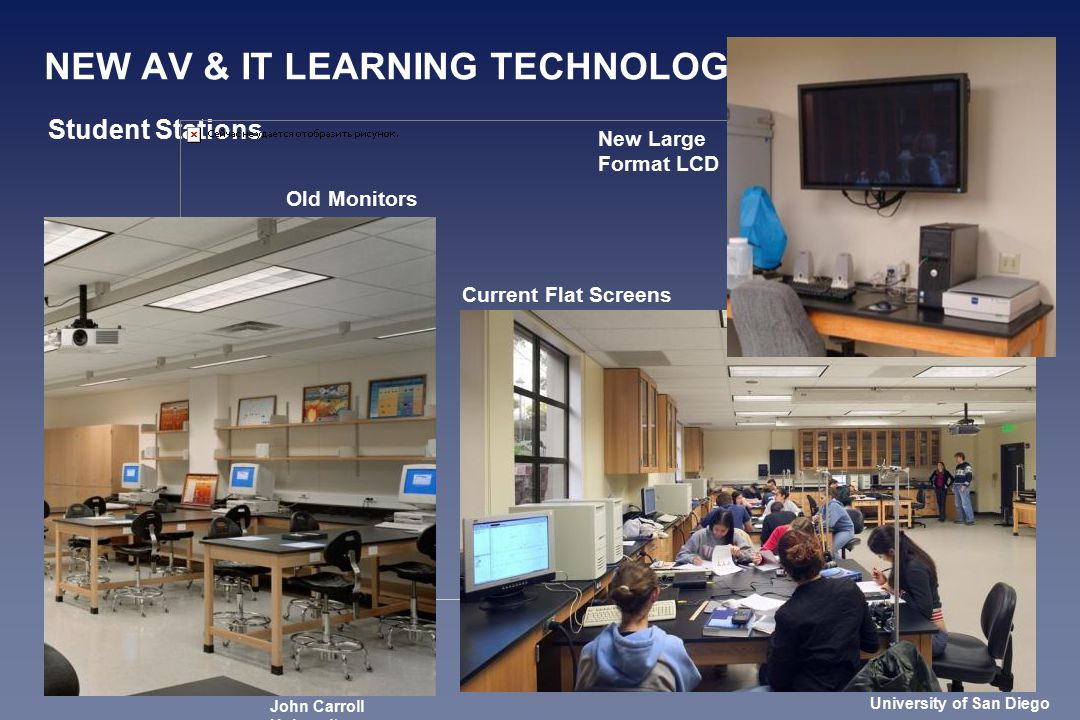 NEW AV & IT LEARNING TECHNOLOGIES Student Stations Old Monitors Current Flat Screens New Large Format LCD University of San Diego John Carroll University