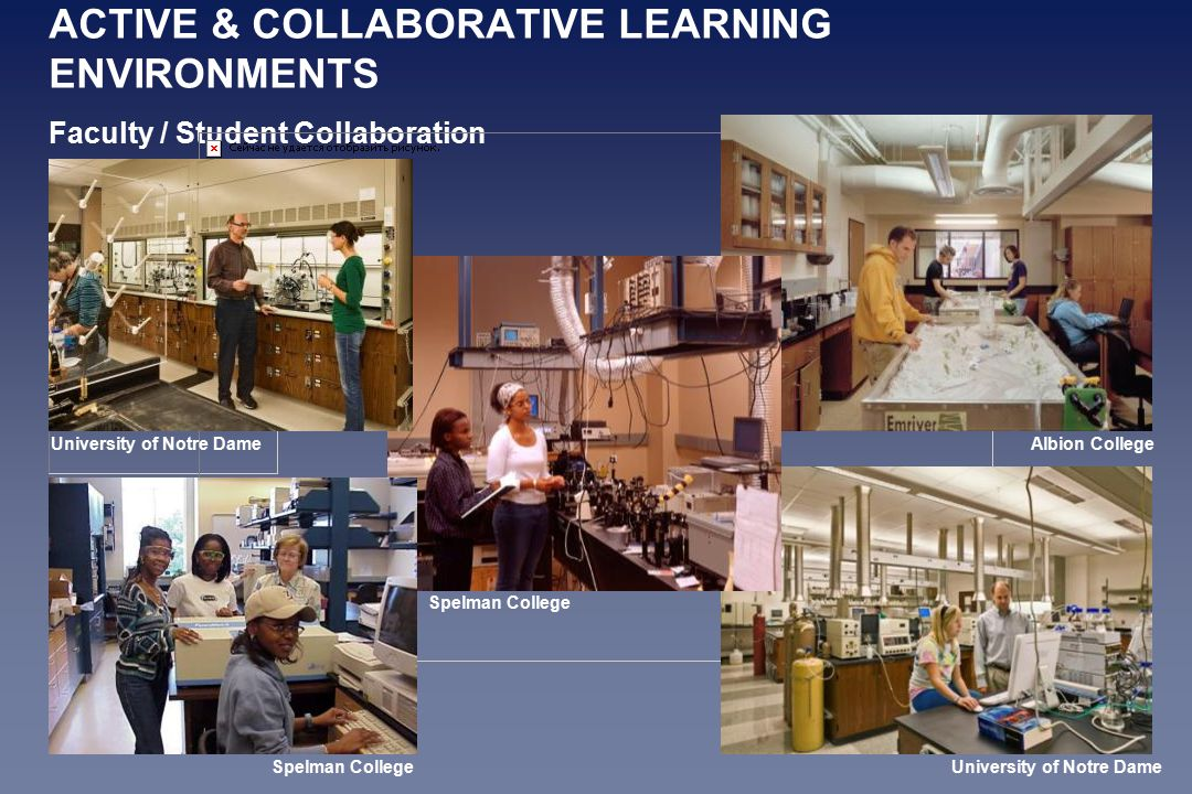 ACTIVE & COLLABORATIVE LEARNING ENVIRONMENTS Faculty / Student Collaboration University of Notre Dame Albion College Spelman College