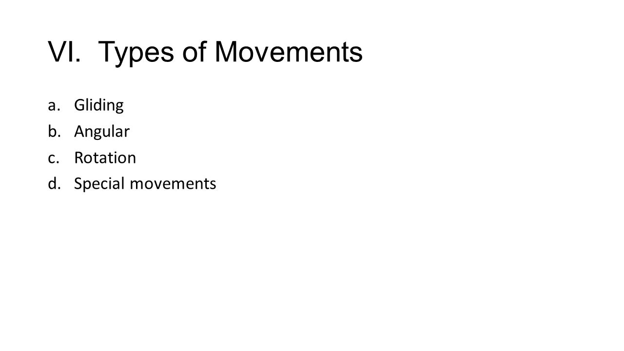 VI. Types of Movements a.Gliding b.Angular c.Rotation d.Special movements