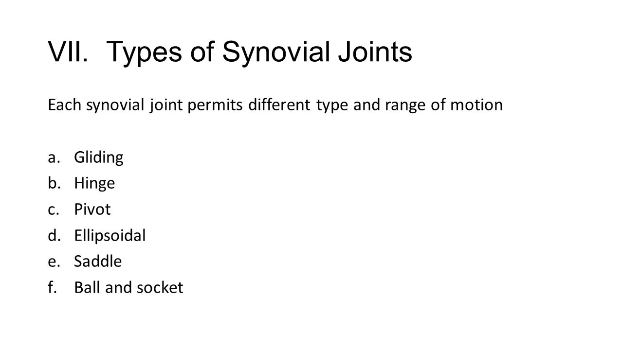VII. Types of Synovial Joints Each synovial joint permits different type and range of motion a.Gliding b.Hinge c.Pivot d.Ellipsoidal e.Saddle f.Ball a