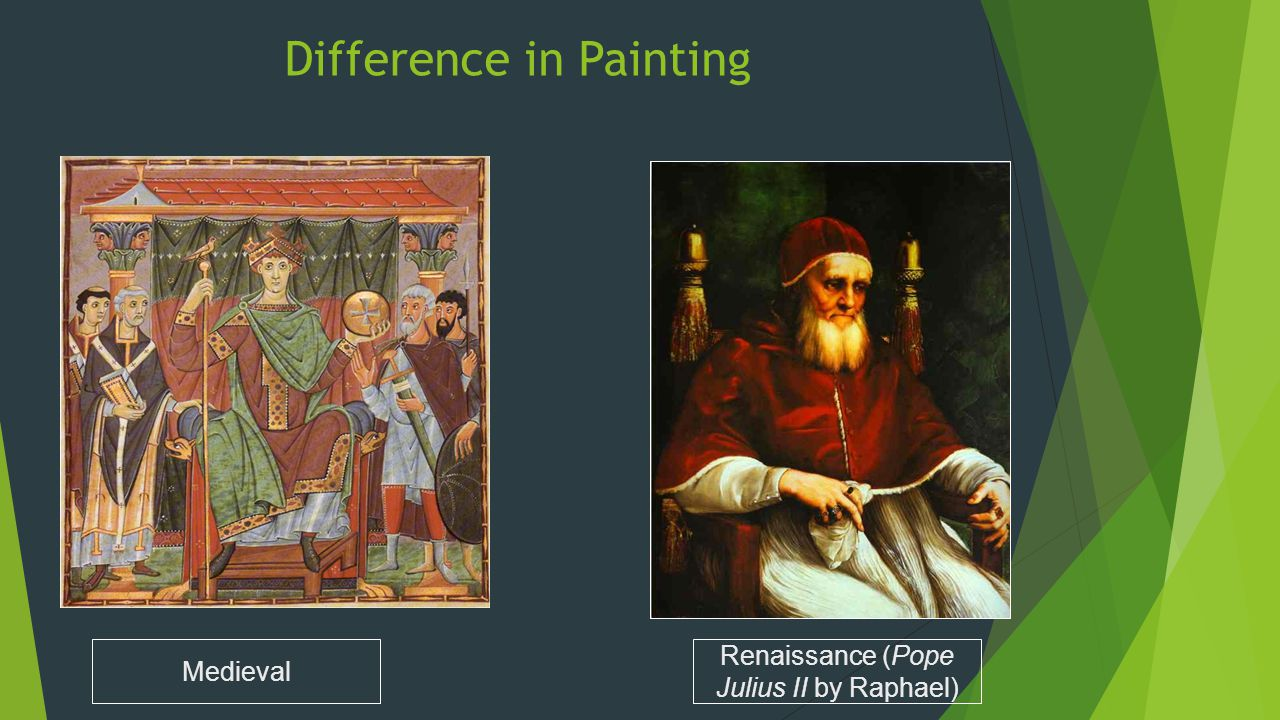 Difference in Painting Renaissance (Pope Julius II by Raphael) Medieval