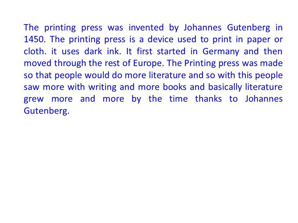 Printing Press Niccolo Machiavelli Johannes Gutenberg