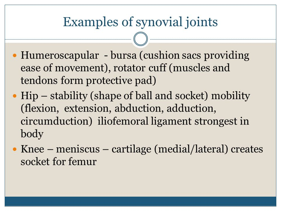 Examples of synovial joints Humeroscapular - bursa (cushion sacs providing ease of movement), rotator cuff (muscles and tendons form protective pad) H