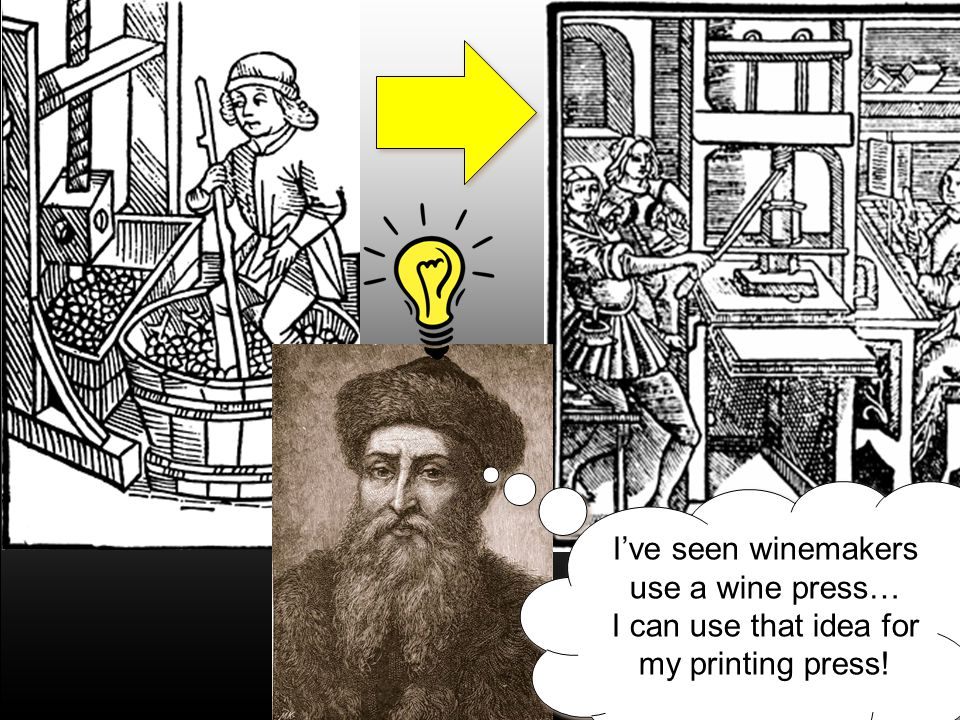 I've seen winemakers use a wine press… I can use that idea for my printing press!