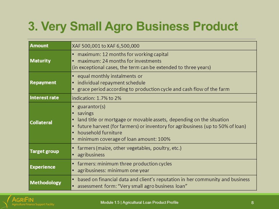 3. Very Small Agro Business Product 8 Module 1.5 | Agricultural Loan Product Profile Amount XAF 500,001 to XAF 6,500,000 Maturity maximum: 12 months f