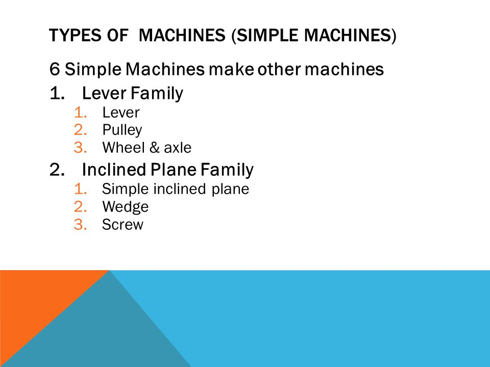 TYPES OF MACHINES (SIMPLE MACHINES) 6 Simple Machines make other machines 1.Lever Family 1.Lever 2.Pulley 3.Wheel & axle 2.Inclined Plane Family 1.Simple inclined plane 2.Wedge 3.Screw
