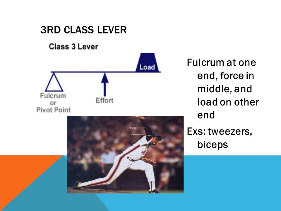 3RD CLASS LEVER Fulcrum at one end, force in middle, and load on other end Exs: tweezers, biceps