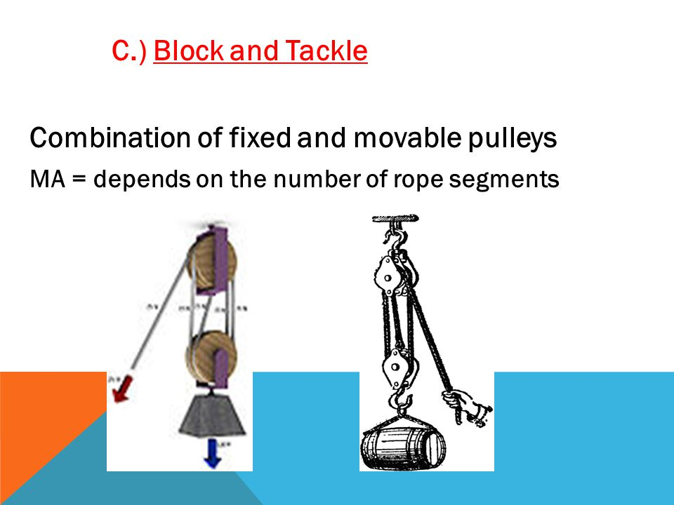 C.) Block and Tackle Combination of fixed and movable pulleys MA = depends on the number of rope segments
