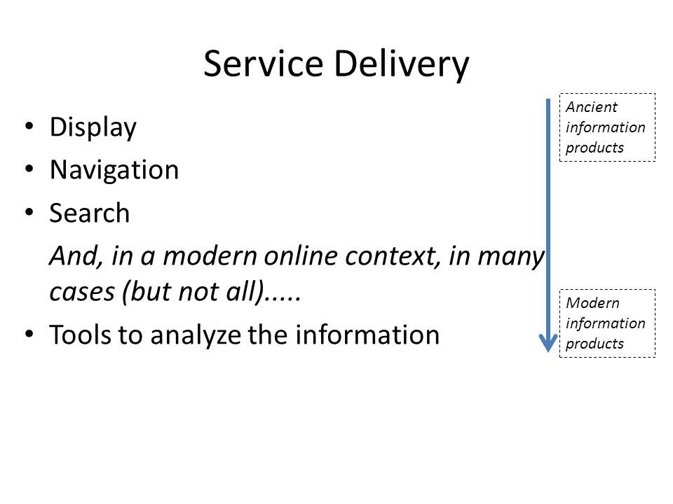 Service Delivery Display Navigation Search And, in a modern online context, in many cases (but not all).....