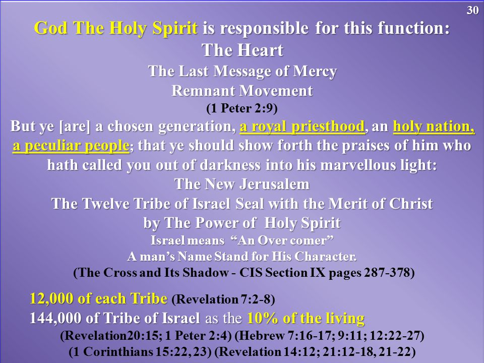 God The Holy Spirit is responsible for this function: The Heart The Last Message of Mercy Remnant Movement (1 Peter 2:9) But ye [are] a chosen generat