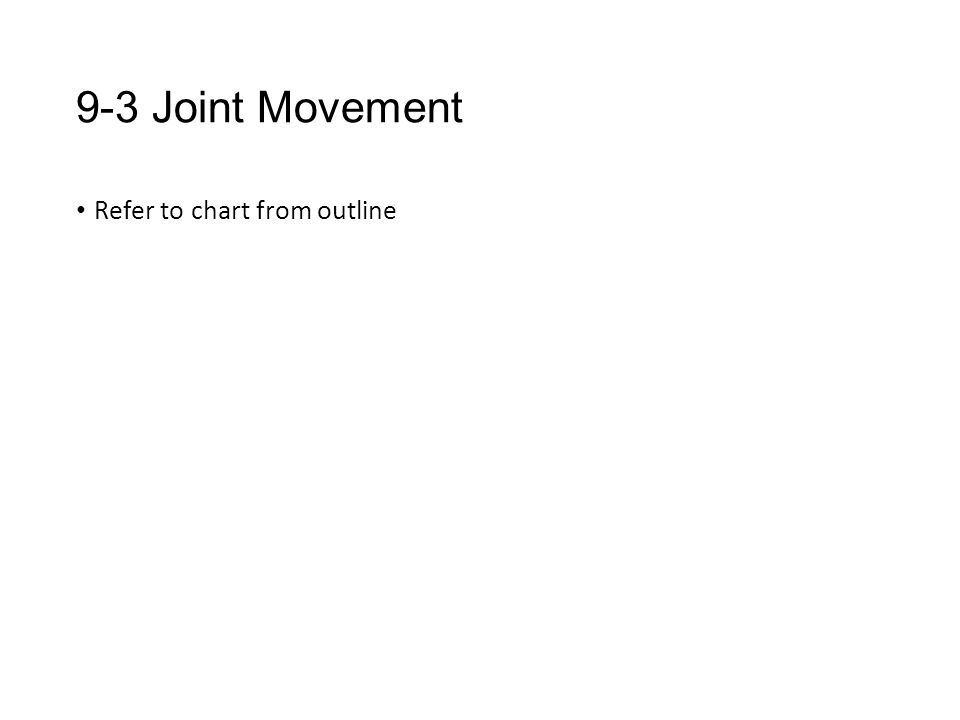9-3 Joint Movement Refer to chart from outline