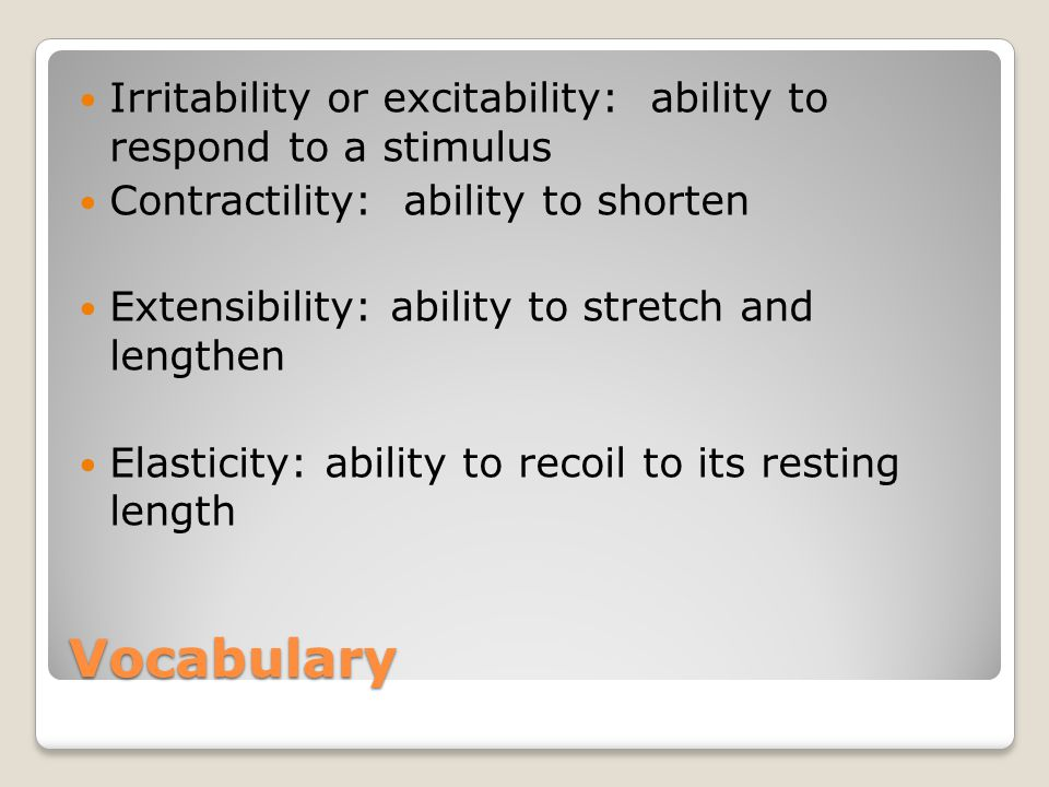 Vocabulary Irritability or excitability: ability to respond to a stimulus Contractility: ability to shorten Extensibility: ability to stretch and lengthen Elasticity: ability to recoil to its resting length
