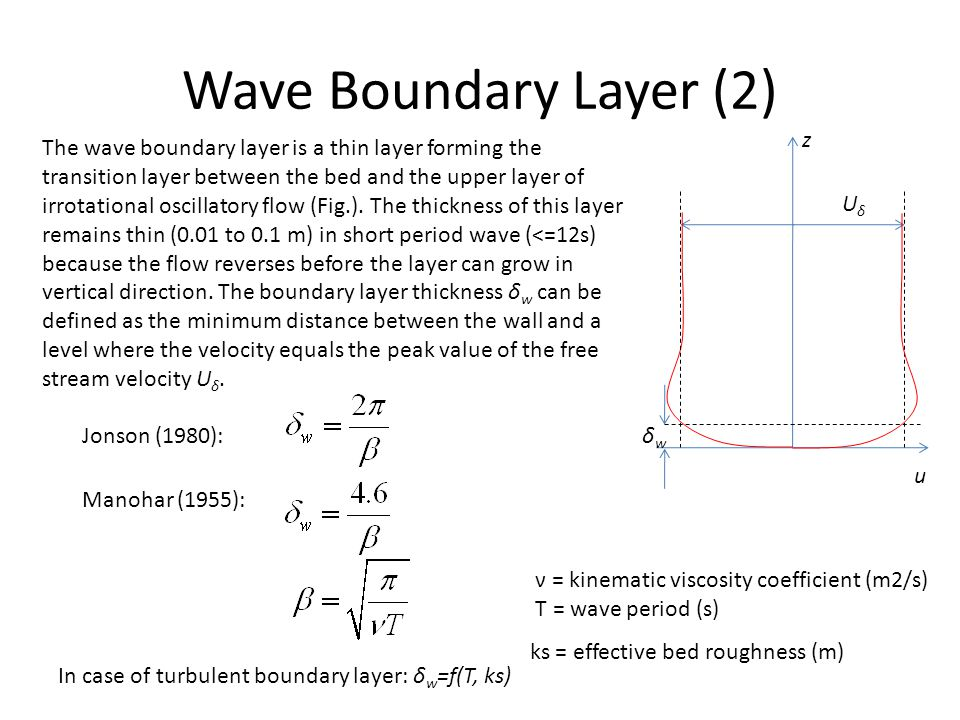 Wave Boundary Layer (2) z u UδUδ δwδw The wave boundary layer is a thin layer forming the transition layer between the bed and the upper layer of irro