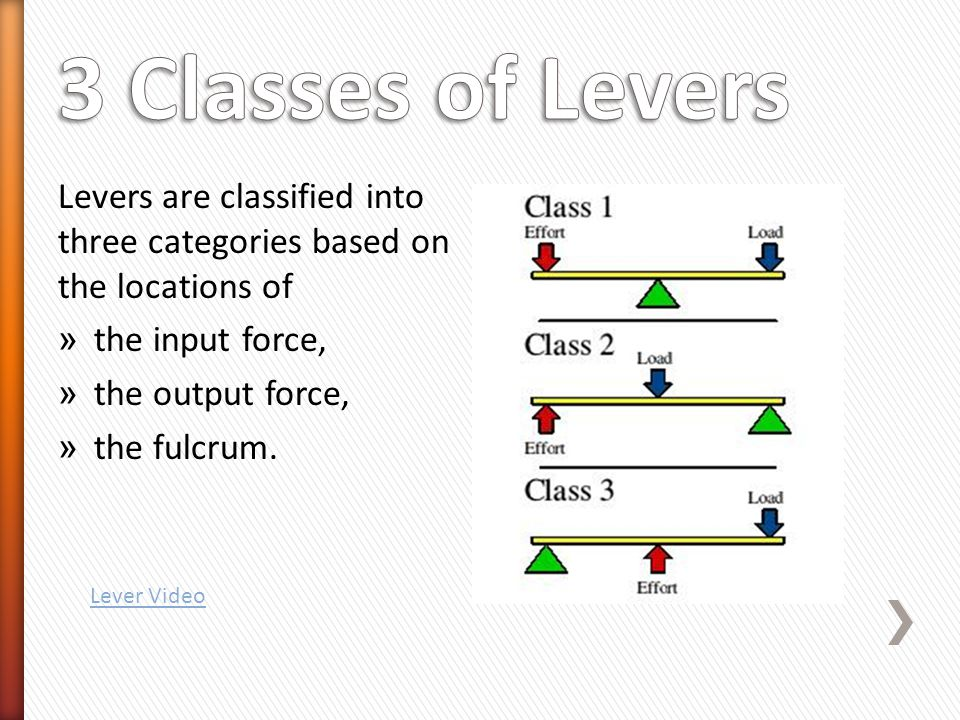 Levers are classified into three categories based on the locations of » the input force, » the output force, » the fulcrum.