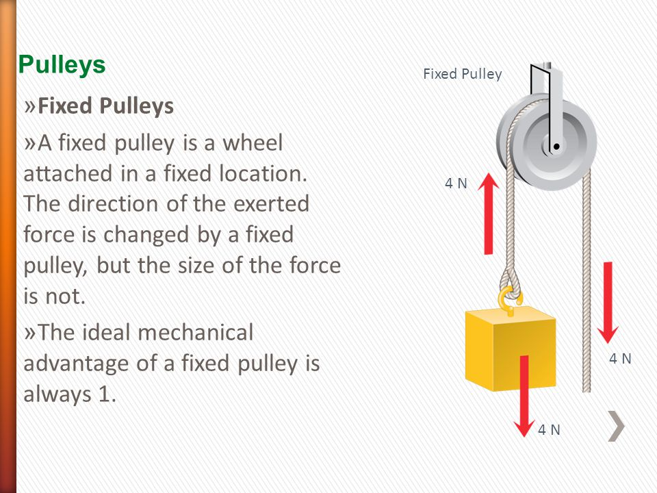 Pulleys 4 N Fixed Pulley » Fixed Pulleys » A fixed pulley is a wheel attached in a fixed location.