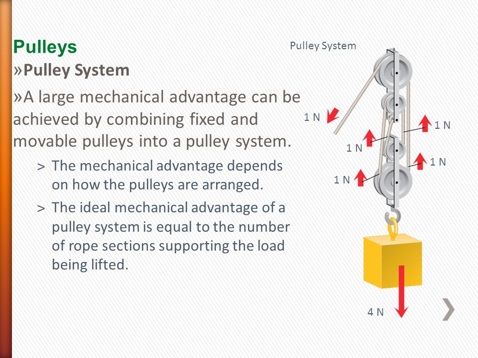 Pulleys 1 N 4 N Pulley System 1 N » Pulley System » A large mechanical advantage can be achieved by combining fixed and movable pulleys into a pulley system.