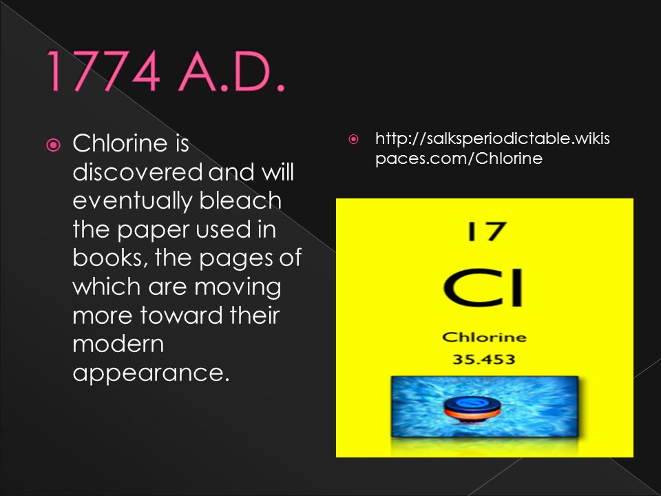  Chlorine is discovered and will eventually bleach the paper used in books, the pages of which are moving more toward their modern appearance.  http