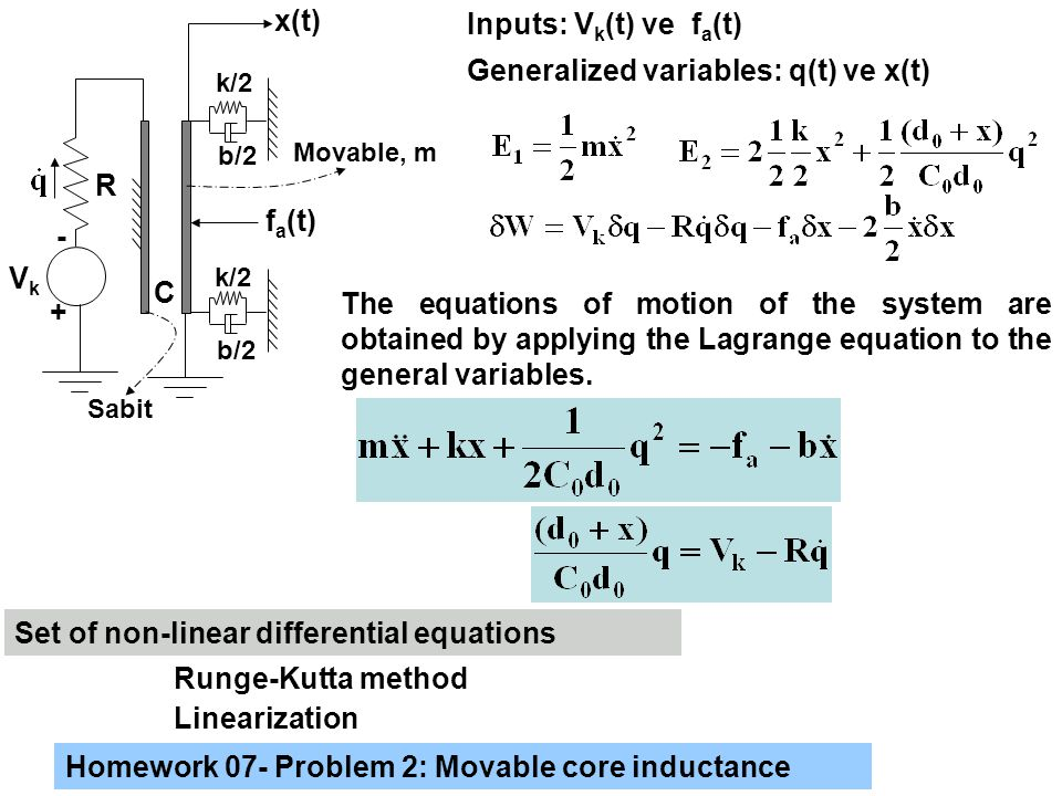 b/2 k/2 b/2 f a (t) x(t) Inputs: V k (t) ve f a (t) Generalized variables: q(t) ve x(t) The equations of motion of the system are obtained by applying the Lagrange equation to the general variables.