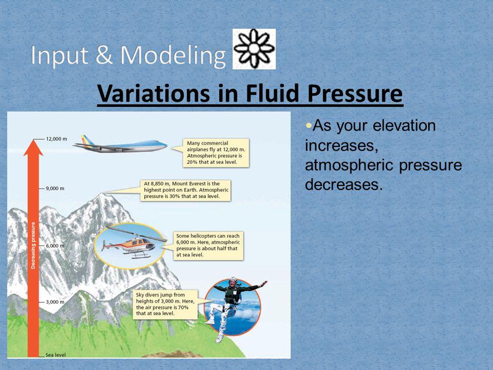 Variations in Fluid Pressure As your elevation increases, atmospheric pressure decreases.
