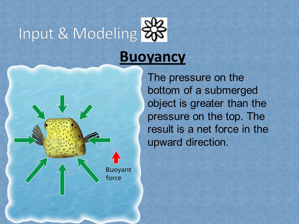 Buoyancy The pressure on the bottom of a submerged object is greater than the pressure on the top. The result is a net force in the upward direction.