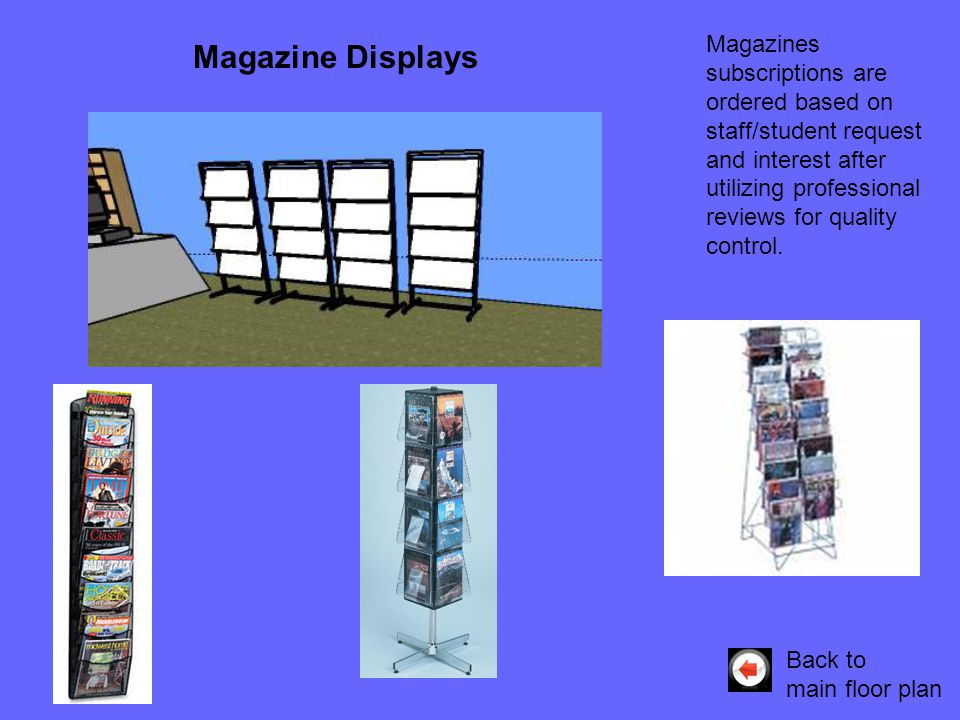 Magazines subscriptions are ordered based on staff/student request and interest after utilizing professional reviews for quality control. Back to main