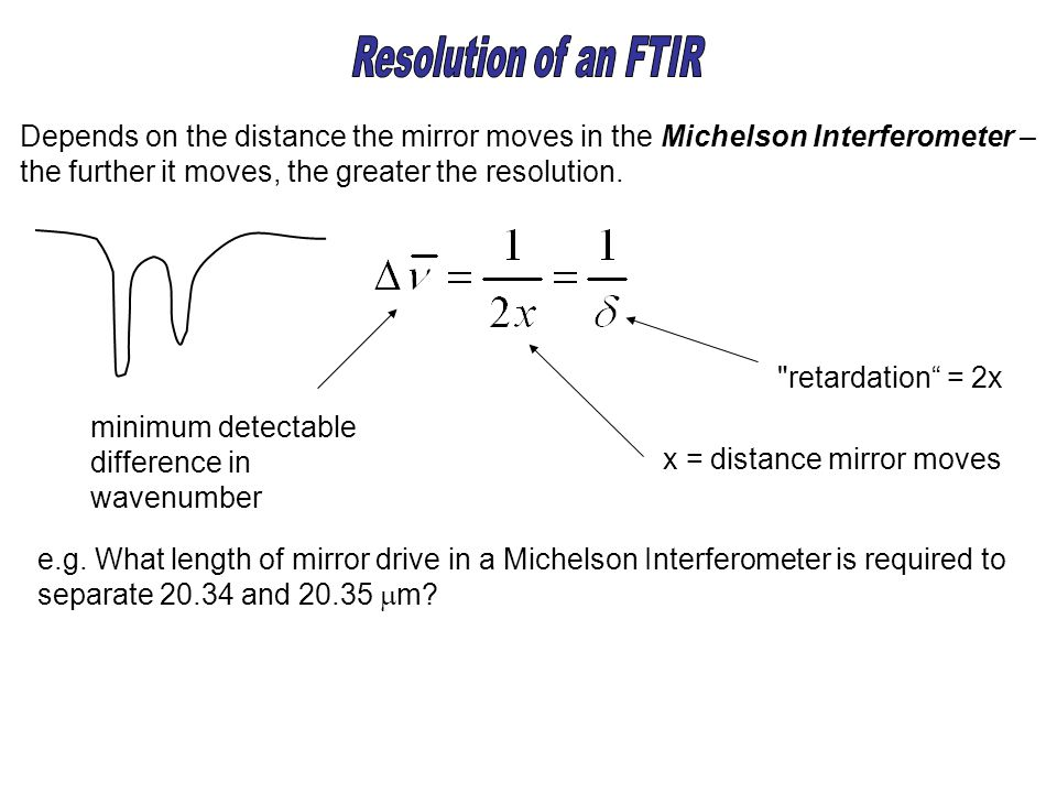 Depends on the distance the mirror moves in the Michelson Interferometer – the further it moves, the greater the resolution. minimum detectable differ
