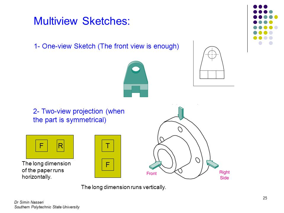 Dr Simin Nasseri Southern Polytechnic State University 25 Multiview Sketches: 1- One-view Sketch (The front view is enough) 2- Two-view projection (when the part is symmetrical) FR F T The long dimension of the paper runs horizontally.