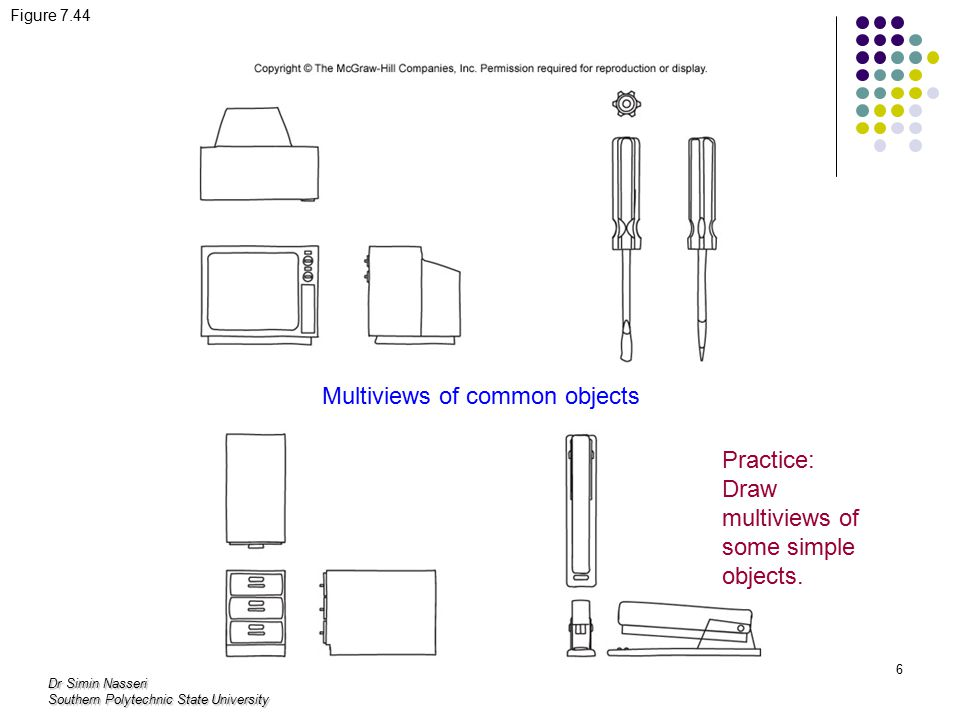 Dr Simin Nasseri Southern Polytechnic State University 6 Figure 7.44 Multiviews of common objects Practice: Draw multiviews of some simple objects.