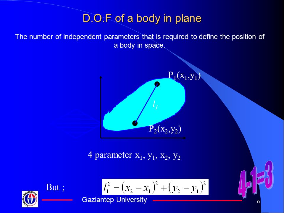Gaziantep University 5 D.O.F of a body in space Dof is defined as the number of independent parameters that is required to define the position of a bo