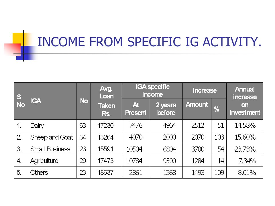 INCOME FROM SPECIFIC IG ACTIVITY.